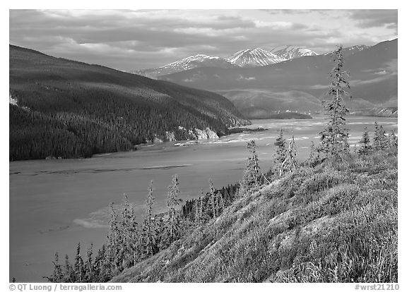 Wide Chitina river. Wrangell-St Elias National Park (black and white)