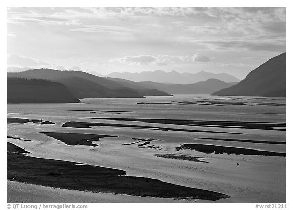 Wide Copper and Chitina rivers. Wrangell-St Elias National Park (black and white)