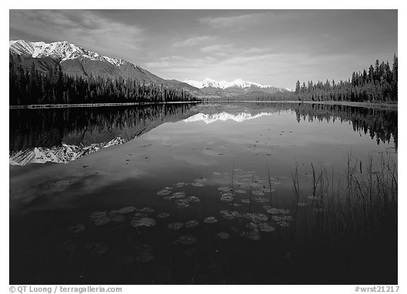 Crystalline Hills and Crystal Lake. Wrangell-St Elias National Park (black and white)