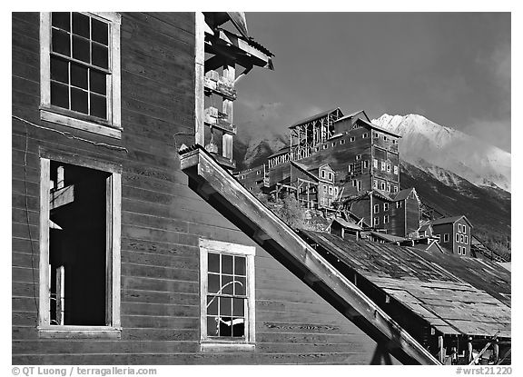 Kennicott historic  mine in storm light, late afternoon. Wrangell-St Elias National Park (black and white)