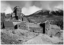 Kennicott historic copper mine. Wrangell-St Elias National Park, Alaska, USA. (black and white)
