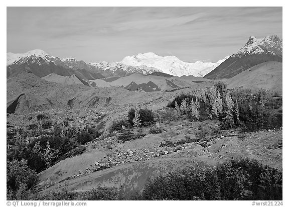 Mt Wrangell and Root Glacier moraines  seen from Kenicott. Wrangell-St Elias National Park (black and white)