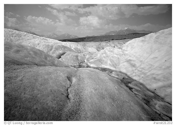 Root Glacier with stream on ice. Wrangell-St Elias National Park (black and white)