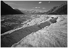 Crevasses and Root Glacier, afternoon. Wrangell-St Elias National Park ( black and white)