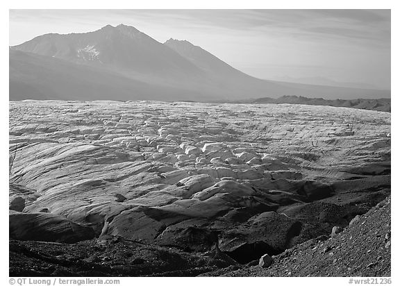 Root glacier and Bonanza ridge, morning. Wrangell-St Elias National Park (black and white)