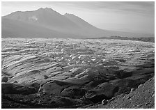 Root glacier and Bonanza ridge, morning. Wrangell-St Elias National Park ( black and white)