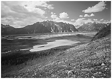 Kennicott Glacier and lake in the distance. Wrangell-St Elias National Park ( black and white)