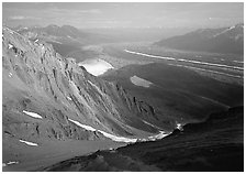 View over hazy Chugach mountains and Kennicott Glacier from Mt Donoho. Wrangell-St Elias National Park ( black and white)