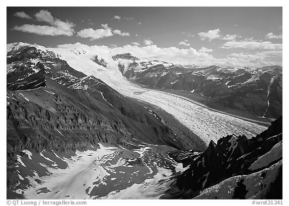 Root Glacier seen from Mt Donoho. Wrangell-St Elias National Park (black and white)