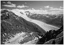 Root Glacier seen from Mt Donoho. Wrangell-St Elias National Park ( black and white)