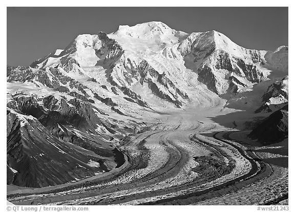 Mt Blackburn and Kennicott glacier seen from Mt Donoho, morning. Wrangell-St Elias National Park (black and white)