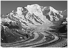 Mt Blackburn and Kennicott glacier seen from Mt Donoho, morning. Wrangell-St Elias National Park ( black and white)
