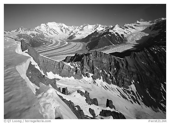 Corniche and view of glaciers and Mt Blackburn range. Wrangell-St Elias National Park (black and white)