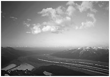 Kennicott Glacier, Chugach mountains, and clouds from Mt Donoho, sunrise. Wrangell-St Elias National Park, Alaska, USA. (black and white)