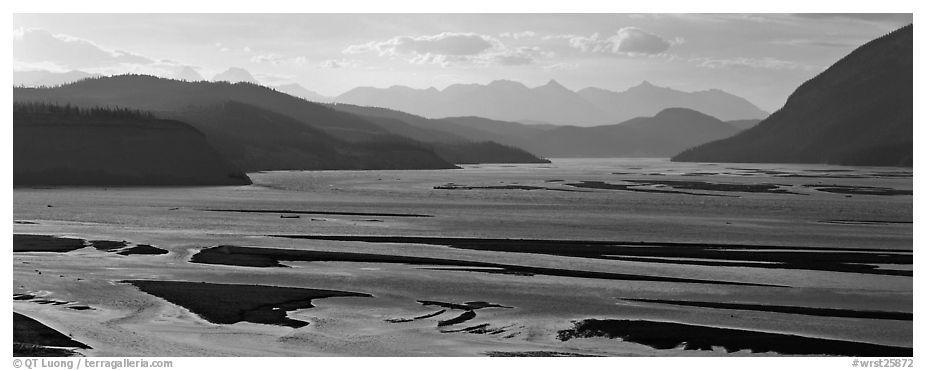 Riverbed of huge size with sand bars. Wrangell-St Elias National Park (black and white)