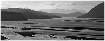 Riverbed of huge size with sand bars. Wrangell-St Elias National Park (Panoramic black and white)