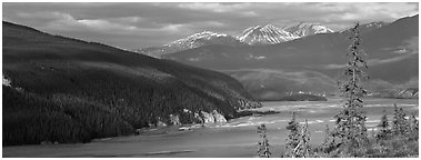 River valley. Wrangell-St Elias National Park (Panoramic black and white)