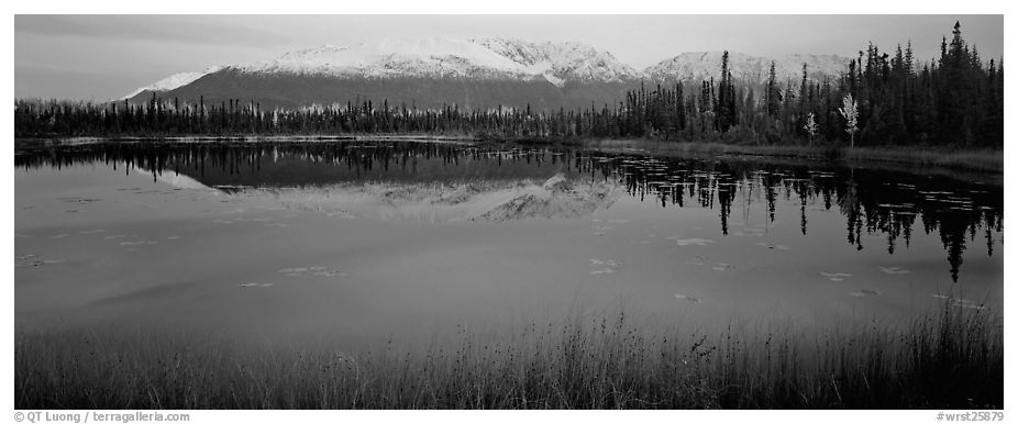 Pond and reflected mountains at dusk. Wrangell-St Elias National Park (black and white)