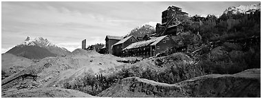 Abandonned mill buildings and moraine, Kennicott. Wrangell-St Elias National Park (Panoramic black and white)