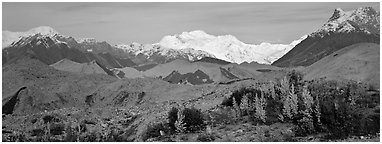 Moraines and snowy mountains. Wrangell-St Elias National Park (Panoramic black and white)