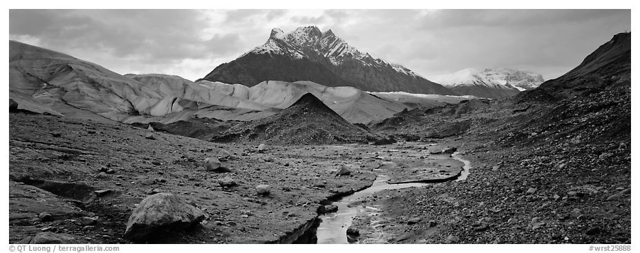 Glacial landscape with stream and moraine. Wrangell-St Elias National Park (black and white)