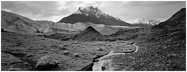 Glacial landscape with stream and moraine. Wrangell-St Elias National Park (Panoramic black and white)