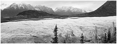 Wide mountain glacier. Wrangell-St Elias National Park (Panoramic black and white)