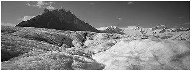 Glacier and peak. Wrangell-St Elias National Park (Panoramic black and white)