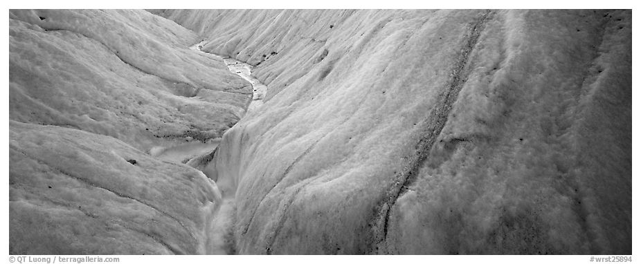 Stream and ice close-up on glacier. Wrangell-St Elias National Park (black and white)