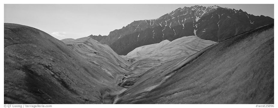 Glacial forms and rocky mountain. Wrangell-St Elias National Park (black and white)