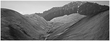 Glacial forms and rocky mountain. Wrangell-St Elias National Park (Panoramic black and white)