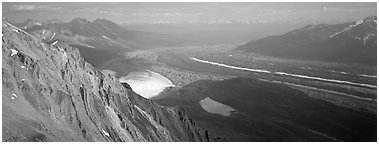 Glacier system from above. Wrangell-St Elias National Park (Panoramic black and white)