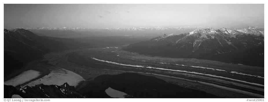 Elevated view of glacier terminal section and mountains. Wrangell-St Elias National Park (black and white)