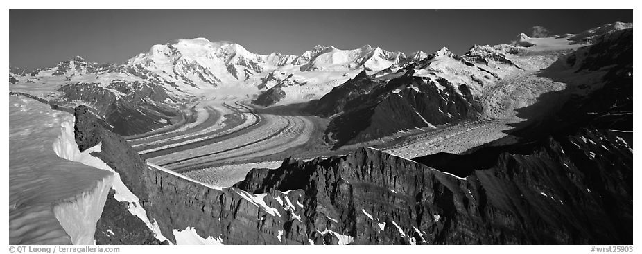 High mountain landscape with glaciers and snow-covered peaks. Wrangell-St Elias National Park (black and white)