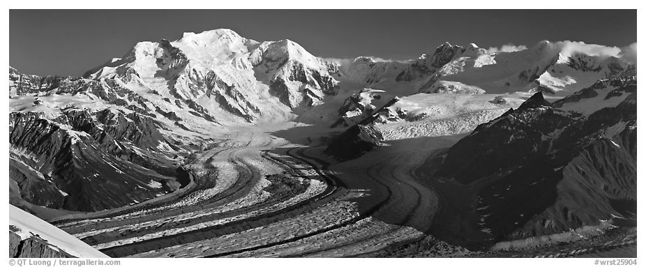 Mt Blackburn and glacier. Wrangell-St Elias National Park (black and white)