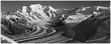 Mt Blackburn and glacier. Wrangell-St Elias National Park (Panoramic black and white)