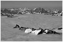 Aerial view of peaks emerging from sea of clouds, St Elias range. Wrangell-St Elias National Park ( black and white)