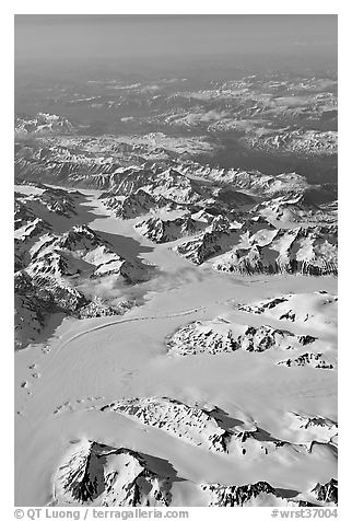 Aerial view of glaciers and mountains, St Elias range. Wrangell-St Elias National Park (black and white)
