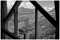 Kennecott power plant and Root Glacier seen from the Mill. Wrangell-St Elias National Park ( black and white)
