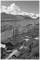 Kennecott power plant, Root Glacier moraines, and Mt Blackburn. Wrangell-St Elias National Park ( black and white)