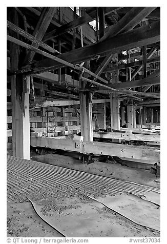 Shaking tables in the Kennecott concentration plant. Wrangell-St Elias National Park (black and white)