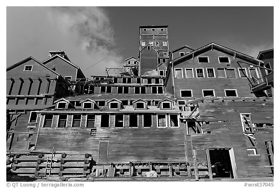 Kennecott concentration and smelting plant. Wrangell-St Elias National Park (black and white)