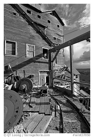Rails and Kennecott Mill. Wrangell-St Elias National Park (black and white)
