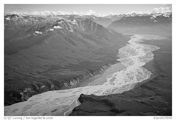Aerial view of valley with wide braided river. Wrangell-St Elias National Park (black and white)