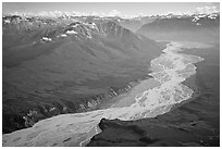 Aerial view of valley with wide braided river. Wrangell-St Elias National Park, Alaska, USA. (black and white)