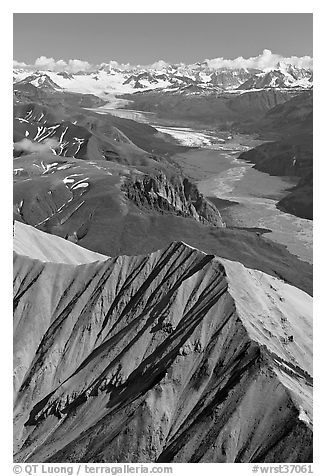 Aerial view of Nizina River and Glacier. Wrangell-St Elias National Park (black and white)