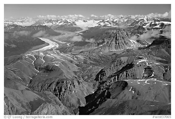 Aerial view of Chitistone Mountains and Nizina Glacier. Wrangell-St Elias National Park (black and white)