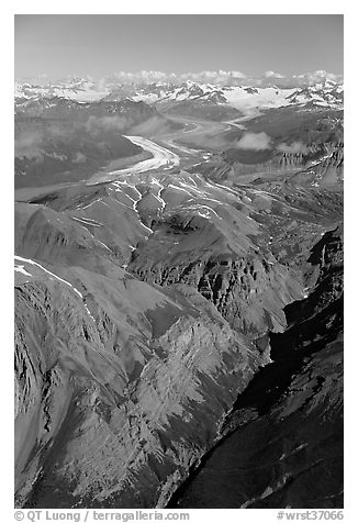 Aerial view of Chitistone Mountains. Wrangell-St Elias National Park (black and white)
