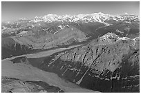 Aerial view of Mile High Cliffs and Chizina River. Wrangell-St Elias National Park, Alaska, USA. (black and white)