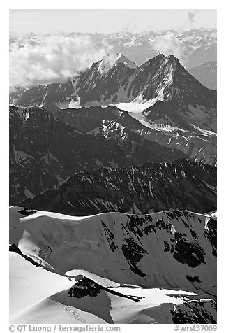 Aerial view of rugged peaks, Saint Elias Mountains. Wrangell-St Elias National Park (black and white)
